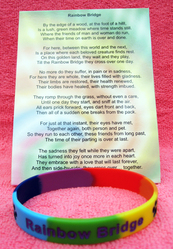 Pet Loss Momento Beautiful Rainbow Bridge wristband dog/cat any beloved pet