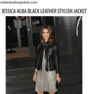 JESSICA ALBA BLACK LEATHER STYLISH JACKET