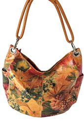 Genuine Argentine Floral Cowhide Leather Hobo Styled Handbag For $220