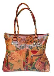 Floral Leather Handbag - Handmade in Argentina For $195