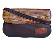 Genuine Pebbled Leather with Croc Embossed Cowhide Cross-body Bag $95