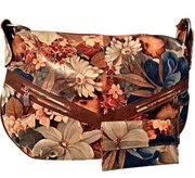 Argentinian Floral Leather Baguette Tote Shoulder Bag & Matching Clutc