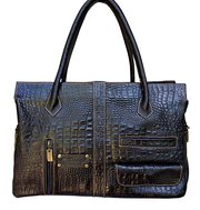 Croc Embossed Argentine Leather Satchel Handbag For $95