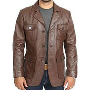 70'S STYLE BROWN LEATHER JACKET FOR MEN