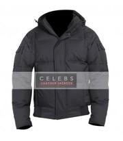 Men's Aviator Style Hoodie Black Winter Jacket