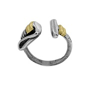 Solid Sterling Silver Ladies Polo Mallet Ring with 18kt Gold For $65
