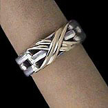 Solid Sterling Silver & 18kt Gold 'Love Knot' Ring Band For $125