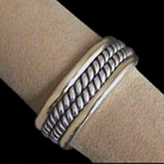 Solid Sterling Silver & 18kt Gold Ring Band For $125
