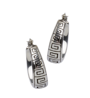 Solid Sterling SIlver Hoops with Greek Key Design For $85