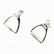 Solid Sterling Silver Iron Riding Stirrup Stud Earrings For $55
