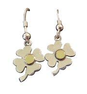 Solid Sterling Silver & 18kt Gold Shamrock Earrings For $65