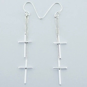 Soild Sterling Silver Double Dangle Cross Earrings For $75