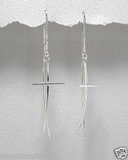 Sterling Silver Contoured Cross 'Threader' Earrings For $75.00