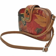 100% Genuine Cowhide Leather with Floral Print - Domed Cross-body Bag