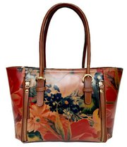 100% Argentinian Floral Cowhide Leather Tote Styled Handbag Purse $175