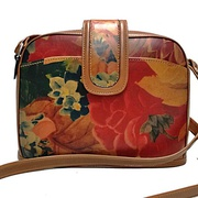 100% Genuine Cowhide Leather with Floral Print For $129