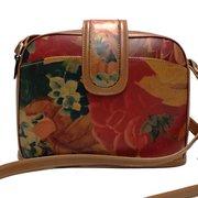 Genuine Argentine Floral Leather Domed Cross Body Messenger Handbag