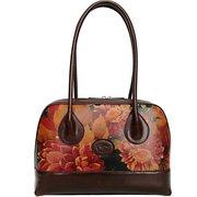 Genuine Floral Leather Shoulder Bag - Hand Crafted in Argentina $155