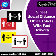 5 Feet Social Distance Office Labels With Fast Delivery – RegaloPrint