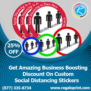Business Boosting Discount On Custom Social Distancing Stickers
