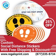 Custom Social Distance Stickers With Free Shipping & Discount