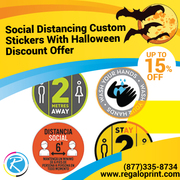 Social Distancing Custom Stickers With 15% Halloween Discount Offer